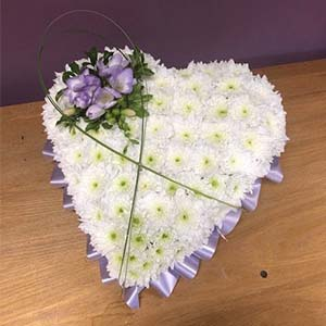 Sympathy Tribute Posy Pillow White heart purple accents