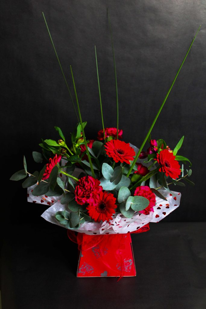 Red Box Bouquet for Valentine's Day