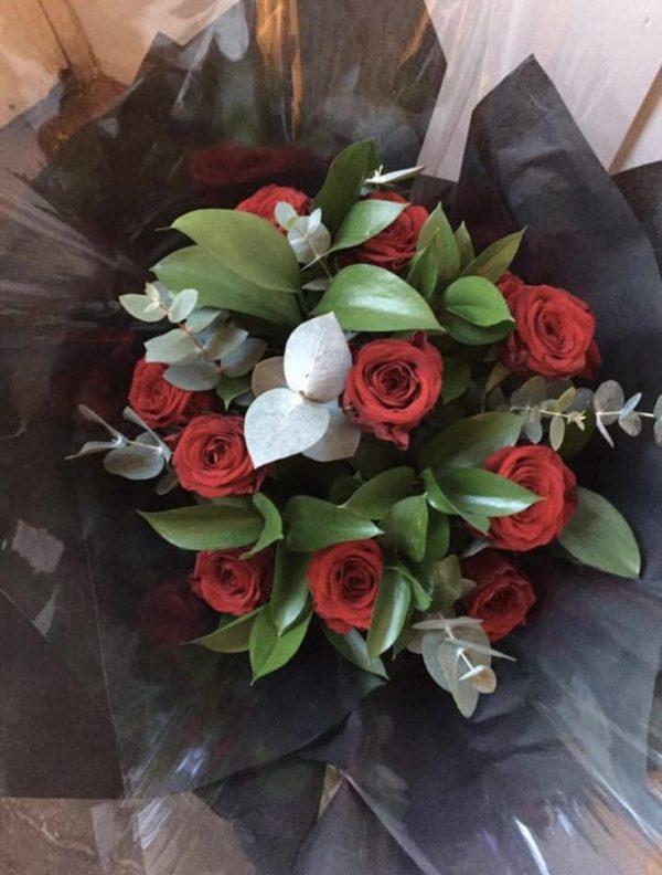 Red Roses with greenery