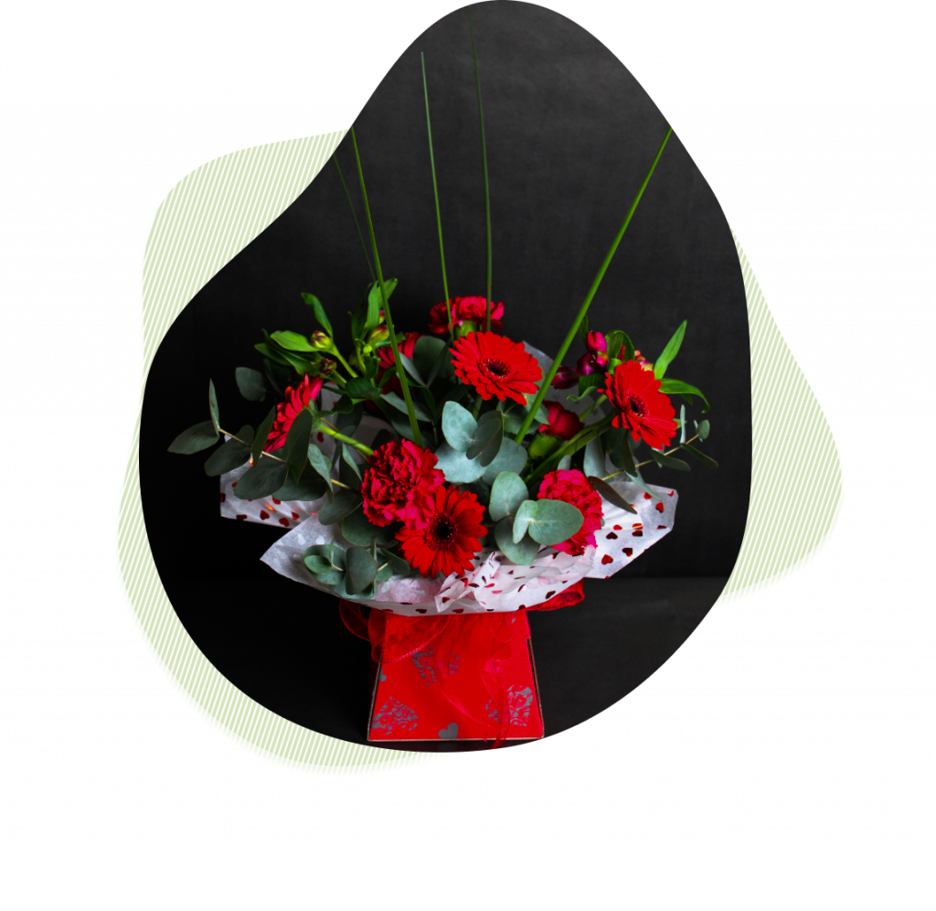 Red flower box for Valentine's Day
