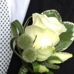 White Rose and Thistle Button Hole from Posies of Clevedon